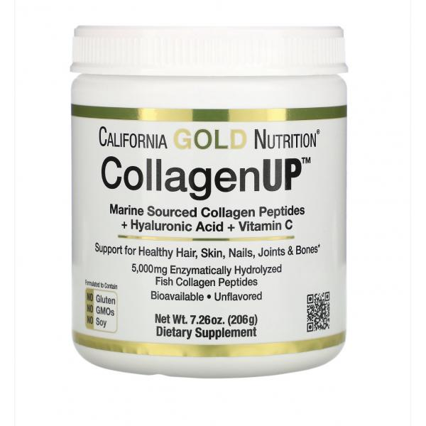 Морской коллаген-пептид California GOLD Nutrition, CollagenUP 5000 mg, с гиалуронкой и витамином C, 205 г