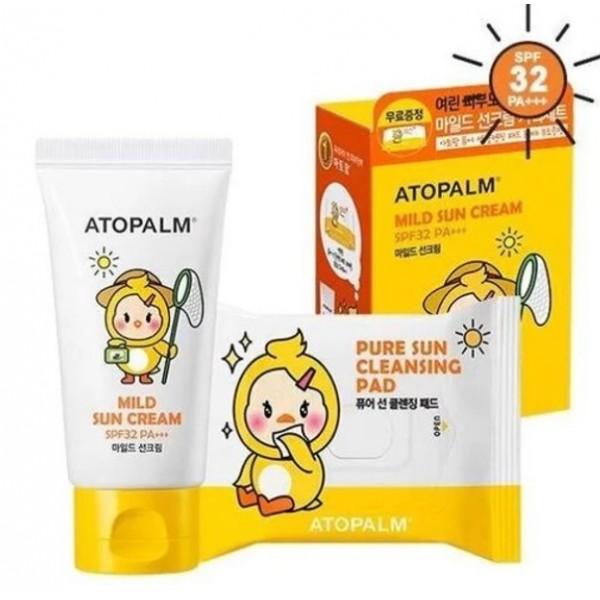 Солнцезащитный крем для детей + 30 салфеток Atopalm Mild Sun Cream SPF 32 PA+++ Special Set 65 мл