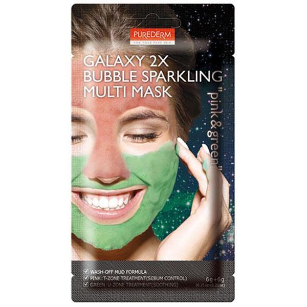 Двухкомпонентная кислородная маска Purederm Galaxy 2X Bubble Sparkling Multi Mask Pink & Green 12 g