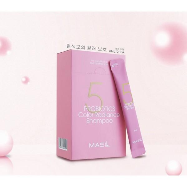 Профессиональный шампунь с пробиотиками для блеска и защиты цвета Masil 5 Probiotics Color Radiance Shampoo 8 ml