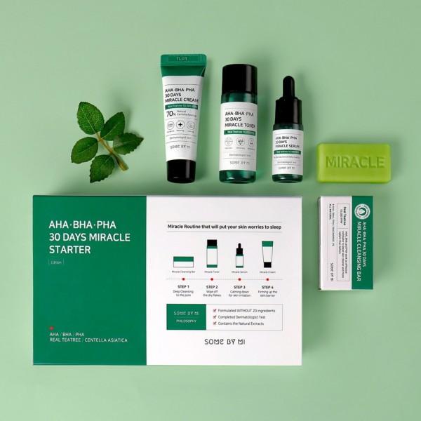 Набор мини-версий для лечения кожи от прыщей с кислотами Some By Mi AHA-BHA-PHA 30 Days Miracle Starter Mini Kit