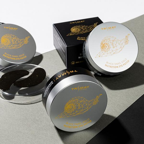 Гидрогелевые патчи с муцином черной улитки и коллоидным золотом Trimay Black Snail Gold Nutrition Eye Patch 60+30 шт.