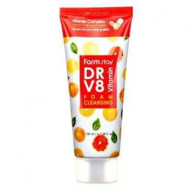 Витаминная очищающая пенка FarmStay DR.V8 Vitamin Foam Cleansing