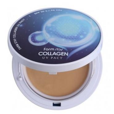Пудра с коллагеном со сменным блоком №23 FARMSTAY Collagen UV Pact SPF50+ PA+++